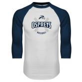 White/Navy Raglan Baseball T-Shirt-Baseball Seams