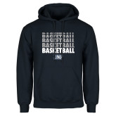 Navy Fleece Hoodie-Basketball Stacked & Repeated