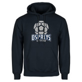 Navy Fleece Hoodie-Soccer Stacked Geometric