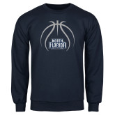 Navy Fleece Crew-Basketball Abstract Ball