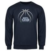 Navy Fleece Crew-Basketball Abstract Ball