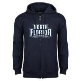Navy Fleece Full Zip Hoodie-North Florida Ospreys