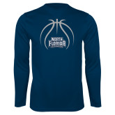 Performance Navy Longsleeve Shirt-Basketball Abstract Ball