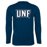Syntrel Performance Navy Longsleeve Shirt-UNF Monogram