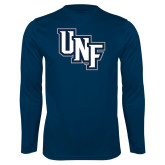 Performance Navy Longsleeve Shirt-Diagonal UNF Monogram