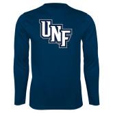 Syntrel Performance Navy Longsleeve Shirt-Diagonal UNF Monogram