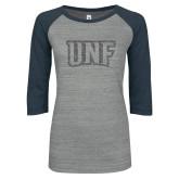 ENZA Ladies Athletic Heather/Navy Vintage Triblend Baseball Tee-UNF Monogram Graphite Glitter