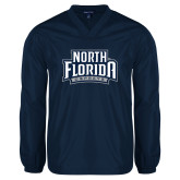 V Neck Navy Raglan Windshirt-North Florida Ospreys