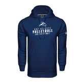 Under Armour Navy Performance Sweats Team Hoodie-Volleyball Can You Dig It