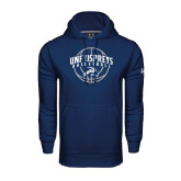 Under Armour Navy Performance Sweats Team Hoodie-Basketball Arched w/ Ball