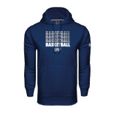 Under Armour Navy Performance Sweats Team Hoodie-Basketball Stacked & Repeated