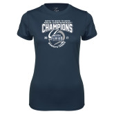 Ladies Syntrel Performance Navy Tee-2017 ASUN Conference Womens Tennis Champions Back To Back