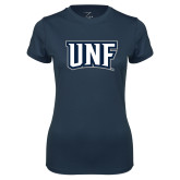Ladies Syntrel Performance Navy Tee-UNF Monogram