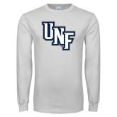White Long Sleeve T Shirt-Diagonal UNF Monogram