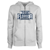 ENZA Ladies White Fleece Full Zip Hoodie-North Florida Ospreys