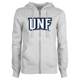 ENZA Ladies White Fleece Full Zip Hoodie-UNF Monogram