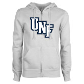 ENZA Ladies White Fleece Full Zip Hoodie-Diagonal UNF Monogram