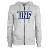 ENZA Ladies White Fleece Full Zip Hoodie-UNF Monogram Dark Blue Glitter