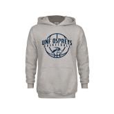 Youth Grey Fleece Hood-Basketball Arched w/ Ball