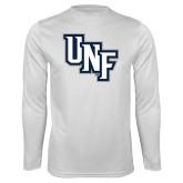 Syntrel Performance White Longsleeve Shirt-Diagonal UNF Monogram