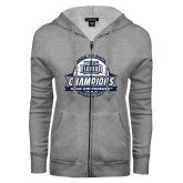 ENZA Ladies Grey Fleece Full Zip Hoodie-2017 ASUN Conference Womens Golf Champions Back To Back