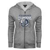 ENZA Ladies Grey Fleece Full Zip Hoodie-2017 ASUN Conference Womens Tennis Champions Back To Back