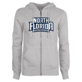 ENZA Ladies Grey Fleece Full Zip Hoodie-North Florida Ospreys