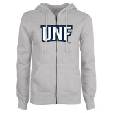 ENZA Ladies Grey Fleece Full Zip Hoodie-UNF Monogram