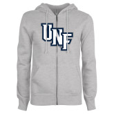 ENZA Ladies Grey Fleece Full Zip Hoodie-Diagonal UNF Monogram
