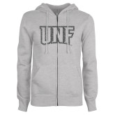 ENZA Ladies Grey Fleece Full Zip Hoodie-UNF Monogram Graphite Glitter