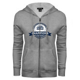 ENZA Ladies Grey Fleece Full Zip Hoodie-2017 ASUN Conference Womens Golf Champions