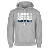 Grey Fleece Hoodie-Basketball Stacked & Repeated