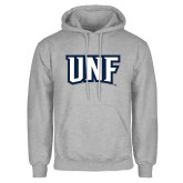 Grey Fleece Hoodie-UNF Monogram