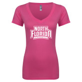 Next Level Ladies Junior Fit Deep V Pink Tee-North Florida Ospreys