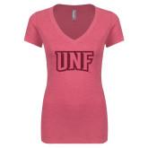 Next Level Ladies Vintage Pink Tri Blend V-Neck Tee-UNF Monogram Hot Pink Glitter