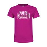 Youth Fuchsia T Shirt-North Florida Ospreys