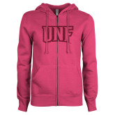 ENZA Ladies Fuchsia Fleece Full Zip Hoodie-UNF Monogram Hot Pink Glitter