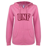 ENZA Ladies Hot Pink V Notch Raw Edge Fleece Hoodie-UNF Monogram Hot Pink Glitter