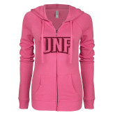 ENZA Ladies Hot Pink Light Weight Fleece Full Zip Hoodie-UNF Monogram Hot Pink Glitter