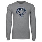 Grey Long Sleeve T Shirt-UNF Basketball