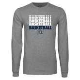 Grey Long Sleeve T Shirt-Basketball Stacked & Repeated
