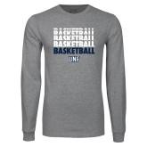 Grey Long Sleeve T Shirt-Basketball Stacked & Repeated