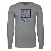 Grey Long Sleeve T Shirt-Soccer Shield