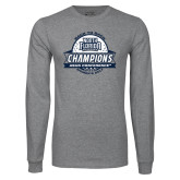 Grey Long Sleeve T Shirt-2017 ASUN Conference Womens Golf Champions Back To Back