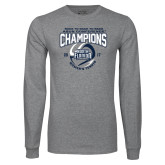 Grey Long Sleeve T Shirt-2017 ASUN Conference Womens Tennis Champions Back To Back
