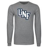 Grey Long Sleeve T Shirt-Diagonal UNF Monogram