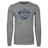 Grey Long Sleeve T Shirt-Basketball Arched w/ Ball