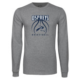 Grey Long Sleeve T Shirt-Basketball Stacked