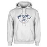 White Fleece Hoodie-Basketball Arched w/ Ball
