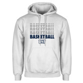 White Fleece Hoodie-Basketball Stacked & Repeated